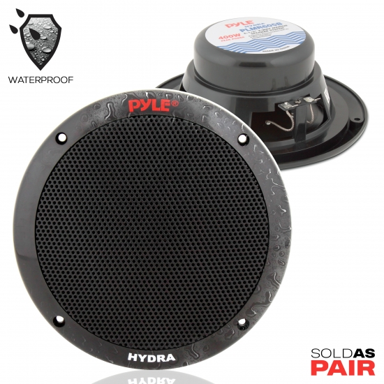 Pyle - PLMR605B , Marine and Waterproof , Weatherproof Speakers , Dual 6.5'' Waterproof Marine Speakers, 2-Way Full Range Stereo Sound, 400 Watt, Black