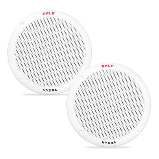Pyle - PLMR605W , Marine and Waterproof , Weatherproof Speakers , 6 1/2'' Dual Cone Marine Speakers (White)