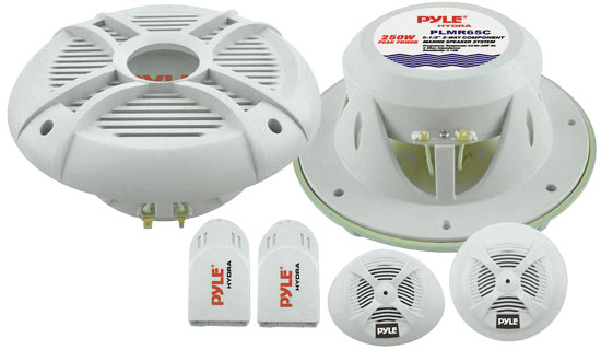 Pyle - PLMR65C , Marine and Waterproof , Weatherproof Speakers , 250 Watts 6.5'' 2-Way Custom Marine Component System