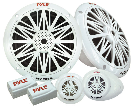 Pyle - PLMR6K , Marine and Waterproof , Weatherproof Speakers , Water Resistant Marine Component Speaker System, Dual 6.5'' Speakers, Dual Tweeters, Dual Electronic Crossovers (Sold as Kit)