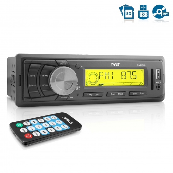 Pyle - PLMR87WB , Marine and Waterproof , Headunits - Stereo Receivers , Marine Stereo Radio Headunit Receiver, Aux (3.5mm) MP3 Input, USB Flash & SD Card Readers, Remote Control, Single DIN (Black)