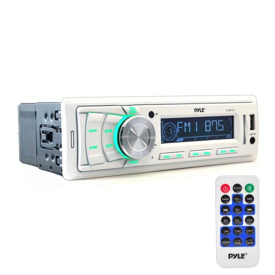 Pyle - PLMR88W , Marine and Waterproof , Headunits - Stereo Receivers , Stereo Radio Headunit Receiver, Aux (3.5mm) MP3 Input, USB Flash & SD Card Readers, Remote Control, Single DIN (White)