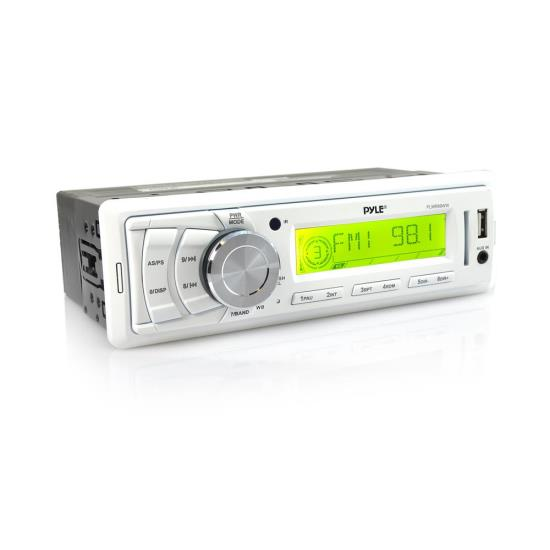 Pyle - UPLMR89WW , Marine and Waterproof , Headunits - Stereo Receivers , Stereo Radio Headunit Receiver, Aux (3.5mm) MP3 Input, USB Flash & SD Card Readers, Remote Control, Single DIN (White)