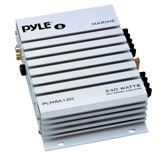 Pyle - PLMRA120 , Marine Audio & Video , Amplifiers , 2 Channel 240 Watt Waterproof Marine Amplifier