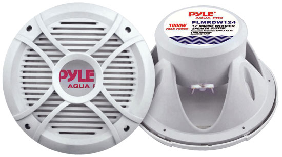 "Pyle - PLMRDW124 , On the Road , Vehicle Subwoofers , 12"" 1000 Watt White 4 Ohm Marine Subwoofer"