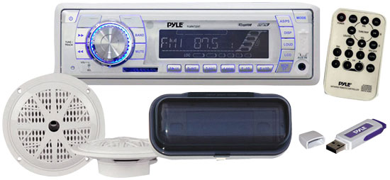Pyle - PLMRKIT101 , Marine Audio & Video , Marine Packages , In-Dash Marine AM/FM PLL Tuning Radio w/USB/SD/MMC Reader, Stereo Cover, 6.5'' Speakers, And USB Drive