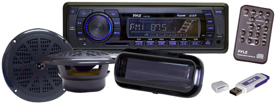 Pyle - PLMRKIT102 , Marine Audio & Video , Marine Packages , In-Dash Marine AM/FM PLL Tuning Radio w/USB/SD/MMC Reader,6.5'' Speakers, Stereo Cover, And USB Drive