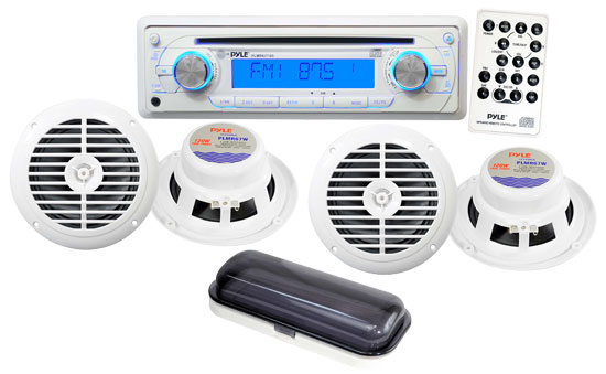 Pyle - PLMRKIT105 , Marine Audio & Video , Marine Packages , AM/FM In-Dash Marine CD Player W/CD/CDR/CDRW/MP3 & Splash Proof Radio Cover (White Color)