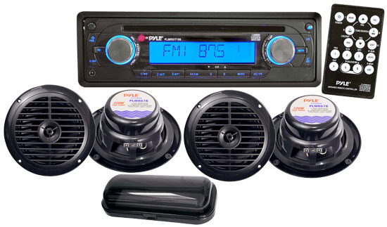 Pyle - PLMRKIT106 , Marine and Waterproof , Headunits - Stereo Receivers , AM/FM In-Dash Marine CD Player WRRW/MP3 & Splash Proof Radio Cover (Black Color)