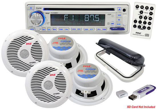 Pyle - PLMRKIT108 , Misc , Complete Marine Water Proof 4 Speaker CD/USB/Mp3/Combo w/Stereo Cover, 6.5'' Speakers And USB Drive (White)