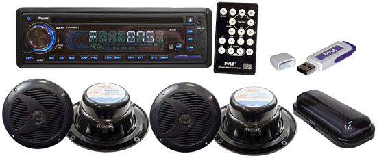 Pyle - PLMRKIT109 , On the Road , Headunits - Receivers , Complete Marine Water Proof 4 Speaker USB/Mp3/Combo 6.5''Speakers w/ Stereo Cover And USB Drive (Black)