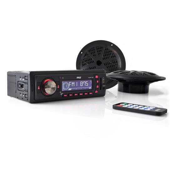 Pyle - PLMRKT12BK , Marine and Waterproof , Receiver & Speaker Kits , Marine In-Dash Stereo Receiver & Speaker Kit, Digital AM/FM Radio System, (2) 5.25'' Waterproof Speakers, MP3/USB/SD Readers, Aux (3.5mm) Input, Single DIN