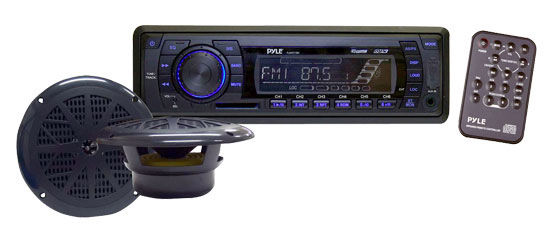 Pyle - PLMRKT13BK , Marine Audio & Video , CD / MP3 Receivers , In-Dash Marine AM/FM PLL Tuning Radio w/ USB/SD/MMC Reader