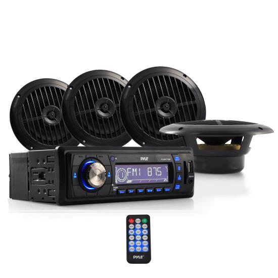 Pyle - PLMRKT14BK , On the Road , Headunits - Stereo Receivers , Stereo Radio Headunit Receiver & Speaker Kit, Aux (3.5mm) MP3 Input, USB Flash & SD Card Readers, Remote Control, Includes (4) Waterproof 6.5'' Speakers, Single DIN (Black)