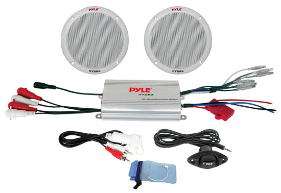 Pyle - PLMRKT2A , Marine and Waterproof , Amplifier & Speaker Kits , 2 Channel Waterproof MP3/iPod Amplified 6.5'' Marine Speaker System