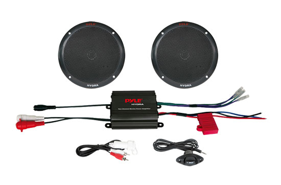 Pyle - PLMRKT2B , Marine Audio & Video , Amplified Speaker Systems , 2 Channel 400 Watt Waterproof Micro Marine Amplifier & 6.5'' Speaker System