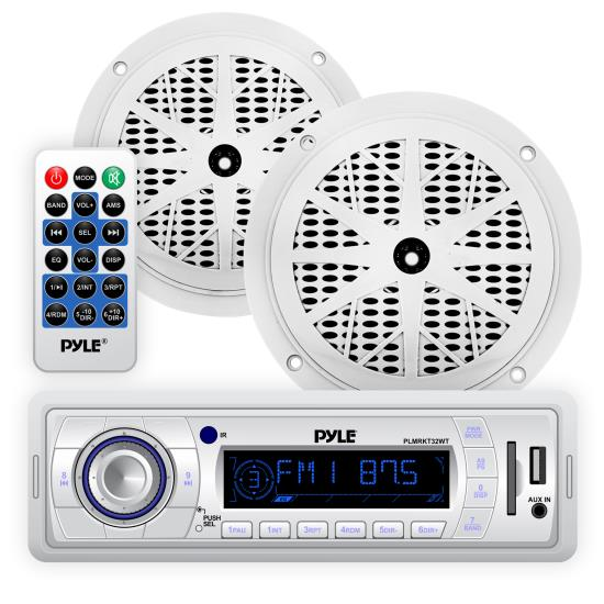 Pyle - PLMRKT32WT , On the Road , Headunits - Stereo Receivers , Stereo Radio Headunit Receiver & Waterproof Speaker Kit, Aux (3.5mm) MP3 Input, USB Flash & SD Card Readers, Remote Control, Includes (2) 5.25'' Speakers, Single DIN (White)