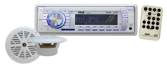 Pyle - PLMRKT33WT , Marine Audio & Video , CD / MP3 Receivers , In-Dash Marine AM/FM PLL Tuning Radio w/ USB/SD/MMC Reader