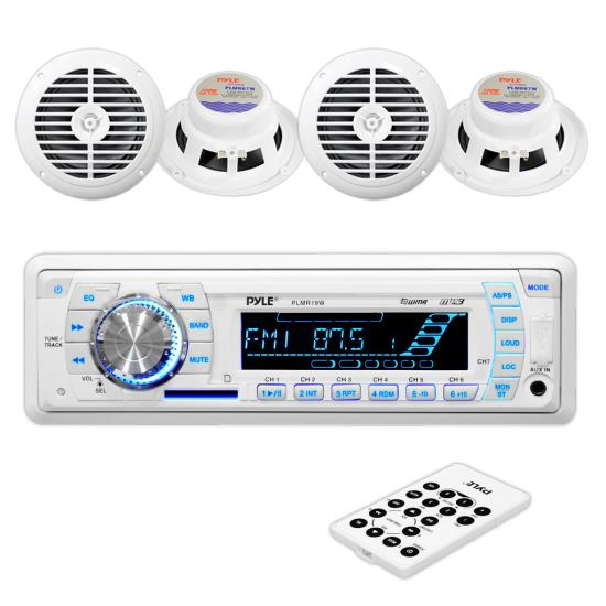 Pyle - PLMRKT34WT , Marine and Waterproof , Receiver & Speaker Kits , Stereo Radio Headunit Receiver & Speaker Kit, Aux (3.5mm) MP3 Input, USB Flash & SD Card Readers, Remote Control, Includes (4) Waterproof 6.5'' Speakers, Single DIN (White)