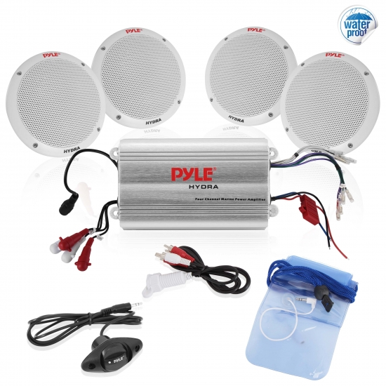 Pyle - PLMRKT4A , Marine and Waterproof , Amplifier & Speaker Kits , 4 Channel Waterproof MP3/ iPod Amplified 6.5'' Marine Speaker System