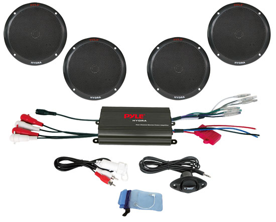 Pyle - PLMRKT4B , On the Road , Vehicle Amplifiers , 4 Channel 800 Watt Waterproof Micro Marine Amplifier & 6.5'' Speaker System