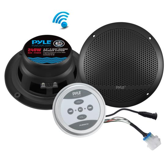 Pyle - UPLMRKT9 , Marine and Waterproof , Amplifier & Speaker Kits , Universal Mount Bluetooth Speaker & Amplifier System - Marine Grade Amp + Speaker Kit (6.5'' Speakers, 240 Watt)
