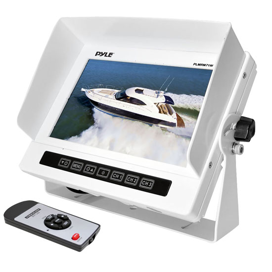 Pyle - PLMRM71W , Marine and Waterproof , Marine Video , Marine Grade Water Proof IPX7 7'' LCD Wide-Screen Monitor with Anti-Glare Shield & Universal Stand (White Color)