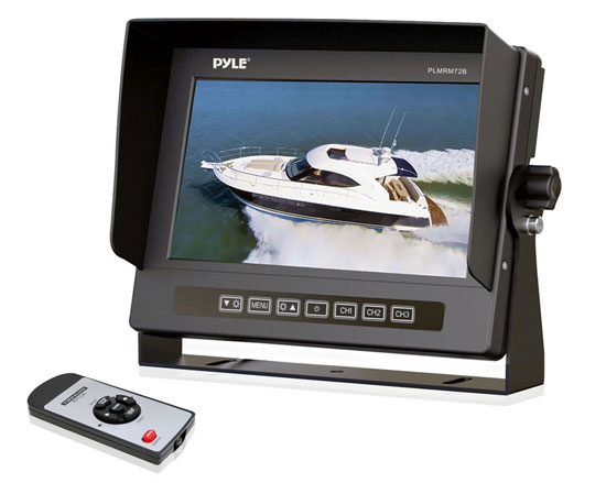 Pyle - PLMRM72B , Marine and Waterproof , Marine Video , Marine Grade Waterproof IPX7 7'' LCD Wide-Screen Monitor with Anti-Glare Shield & Universal Stand (Black Color)