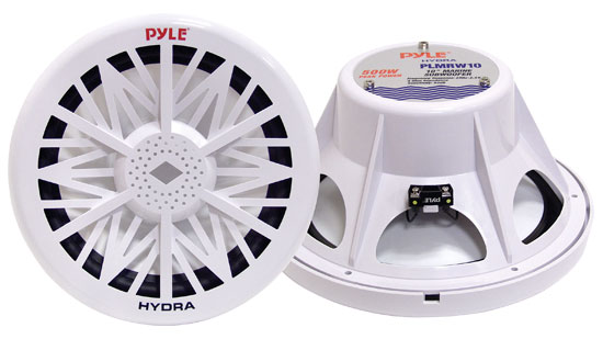 "Pyle - PLMRW8 , Marine Audio & Video , Woofers , Single 8"" 400 Watt White 4 Ohm Marine Subwoofer"