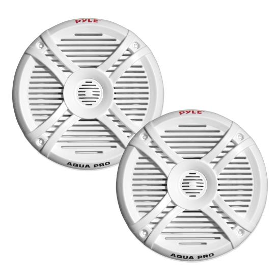 Pyle - PLMRX67 , Marine and Waterproof , Weatherproof Speakers , Dual 6.5'' Water Resistant Marine Speakers, 2-Way Full Range Stereo Sound, 250 Watt, White