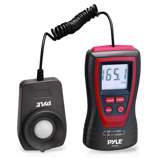 Pyle - PLMT15 , Tools and Meters , Light and Lux , Handheld Lux Light Meter Photometer W/ 2X Per Second Sampling, LCD display & 200,000 Lux Range