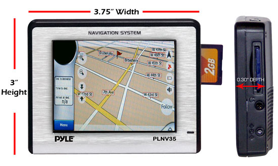 Pyle - PLNV35 , On the Road , Headunits - Stereo Receivers , 3.5'' Touch Screen Universal Portable GPS Navigation w/USA/Canada Mexico Maps