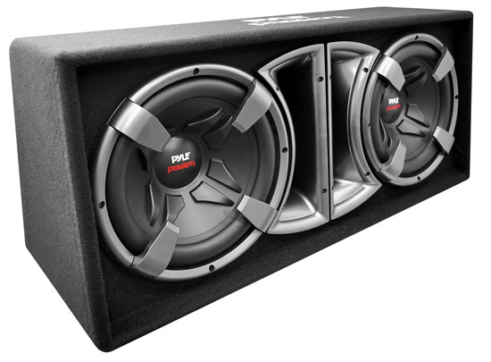 Pyle - PLPPS212 , On the Road , Subwoofer Enclosures , Dual 12'' Slim Design Forward Firing Vented Enclosure System