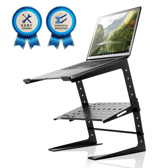 Pyle - UPLPTS26 , Musical Instruments , Mounts - Stands - Holders , Sound and Recording , Mounts - Stands - Holders , Laptop Computer Stand For DJ W/Storage Shelf