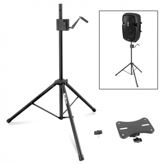Pyle - PLPTS77 , Musical Instruments , Mounts - Stands - Holders , Sound and Recording , Mounts - Stands - Holders , 0.4'' Height Range Adjustable Speaker Stand - Heavy-duty and Crank Style Speaker Stand, Easy Locking Fasteners for Quick Setup