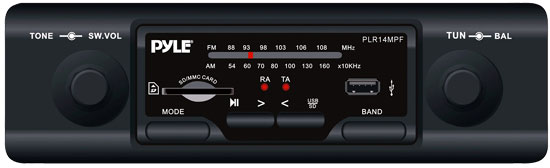 Pyle - PLR14MPF , On the Road , Headunits - Stereo Receivers , In-Dash AM/FM-MPX MP3 Shaft Style Dual Knob Radio w/USB/SD Card