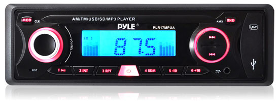 Pyle - PLR17MPUA , On the Road , Headunits - Receivers , In-Dash AM/FM-MPX Receiver MP3 Playback w/ USB/SD Card Readers & Aux Input for iPod, MP3 Players, Smartphones, etc.