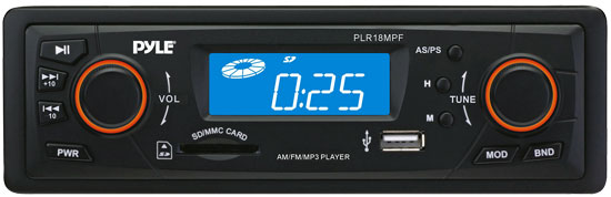 Pyle - PLR18MPF , On the Road , Headunits - Stereo Receivers , In-Dash AM/FM-MPX Receiver MP3 Playback w/ USB/SD Card