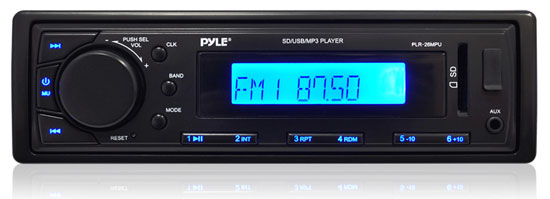 Pyle - PLR26MPU , On the Road , Headunits - Stereo Receivers , Stereo Radio Headunit Receiver, Aux (3.5mm) MP3 Input, USB/SD Memory Card Readers, AM/FM Radio, Single DIN