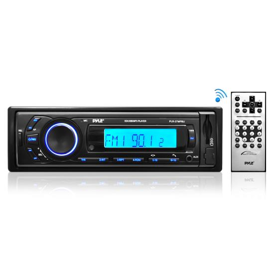 Pyle - PLR27MPBU , Marine and Waterproof , Headunits - Stereo Receivers , Bluetooth Stereo Receiver In-Dash Console Radio, USB/SD/MP3 Playback, Aux (3.5mm) Input, AM/FM Radio, Single DIN