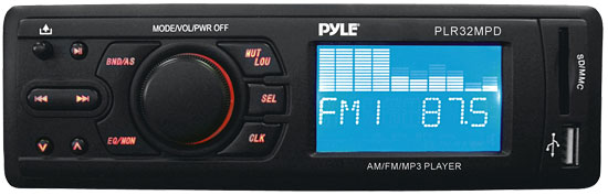 Pyle - PLR32MPD , On the Road , Headunits - Stereo Receivers , In-Dash AM/FM-MPX Receiver MP3 Playback w/ USB/SD Card w/ Detachable Panel