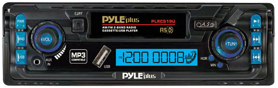 Pyle - PLRCS19U , On the Road , Headunits - Stereo Receivers , AM/FM 2 Band Radio Digital Car Cassette Player MP3 Compatible Built-In USB/ AUX-IN
