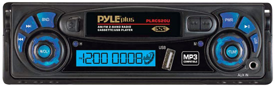 Pyle - PLRCS20U , On the Road , Headunits, Receivers , AM/FM Radio Digital Display Auto Reverse Car Cassette Player MP3 Compatible Built-In USB/AUX-In
