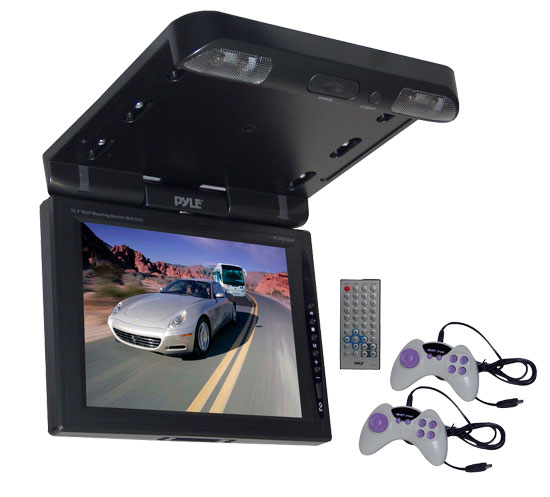 Pyle - PLRD103IF , On the Road , Overhead Monitors - Roof Mount , 10.4'' TFT LCD Flip-Down Roof Mount Multimedia Disc Monitor & IR/FM Transmitter
