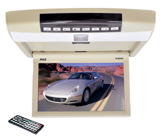 Pyle - PLRD104 , On the Road , Overhead Monitors - Roof Mount , 10.4'' Flip Roof Mount Monitor & Multimedia Disc Player with Wireless FM Modulator, IR Transmitter, USB Flash & SD Card Compatible