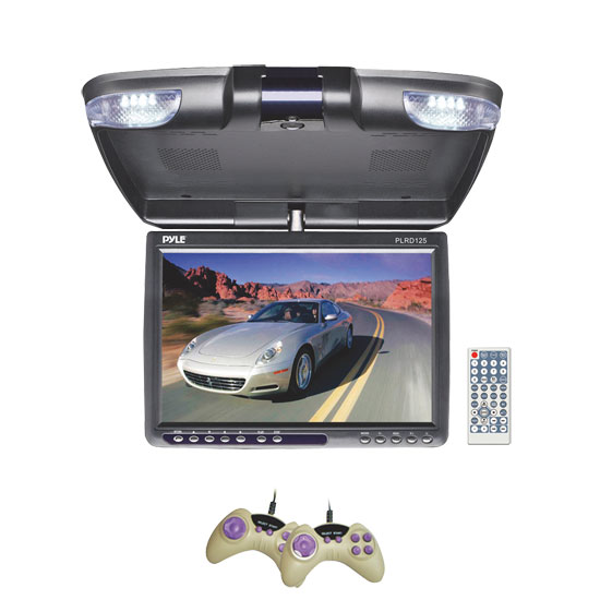 Pyle - PLRD125 , On the Road , Overhead Monitors - Roof Mount , 12.1'' TFT LCD Flip-Down Roof Mount Built-In Multimedia Disc Player w/ FM Modulator/IR Transmitter