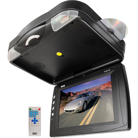 Pyle - UPLRD133F , On the Road , Overhead Monitors - Roof Mount , 12.1'' Roof Mount TFT LCD Monitor w/ Built-In Multimedia Disc Player