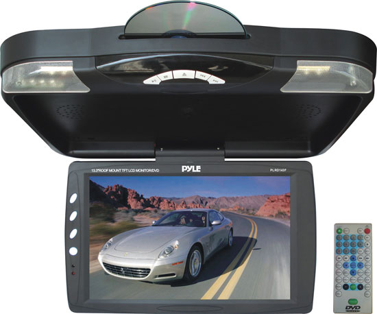 Pyle - PLRD143F , Mobile Video / Navigations , Roof Mount Monitors , 13.3'' Roof Mount TFT LCD Monitor With Built In Multimedia Disc Player