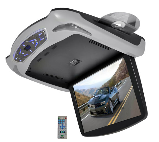 Pyle - PLRD145 , Mobile Video / Navigations , Roof Mount Monitors , 13.3'' Roof Mount TFT LCD Monitor Built In Multimedia Disc/USB/SD Player w/ Wireless FM/IR Transmitter's & Included 3 Color Skins (Gry/Blk/Tan)