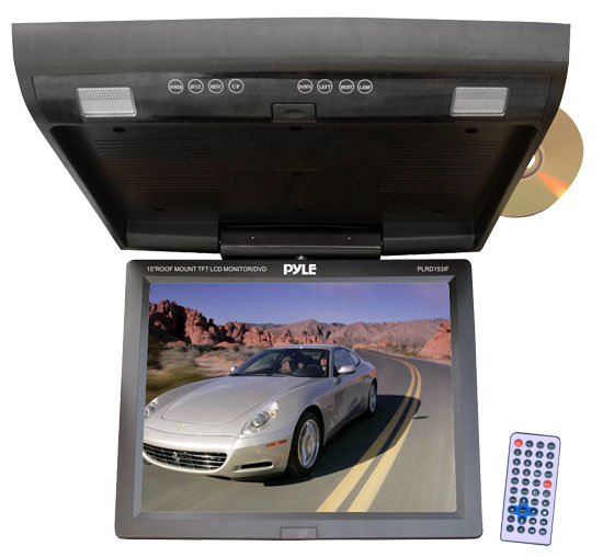 Pyle - PLRD153IF , On the Road , Overhead Monitors - Roof Mount , 15.1'' Flip Down Monitor w/ Built In Multimedia Disc/SD/USB player w/ Wireless FM Modulator/ IR Transmitter